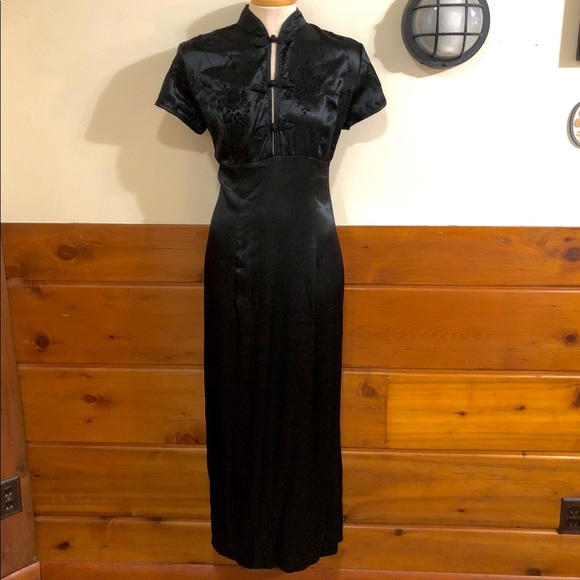 Vintage Dresses & Skirts - Black Cheongsam Dress Side Slits Sz 11 12 Holiday
